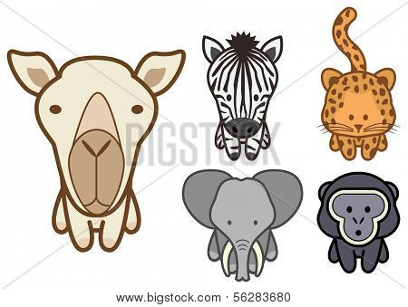 Vector illustration set of different cartoon wild or zoo animals. All objects and details are grouped. Colors and transparent background color are easy to adjust.