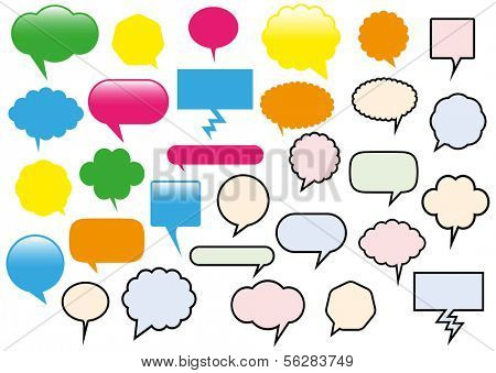 Vector illustration of different text balloons. All objects are isolated. Colors and transparent background color are easy to adjust.