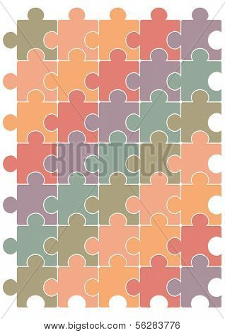Puzzle vector eps contains 4 layers: (1) each puzzle piece with one clipping path, (2) complete puzzle pattern with one clipping path, (3) puzzle stroke layer, (4) puzzle color layer.