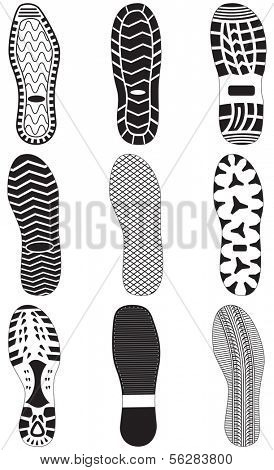 Vector illustration set of footprints. All vector objects are isolated and grouped. Colors and transparent background color are easy to customize.
