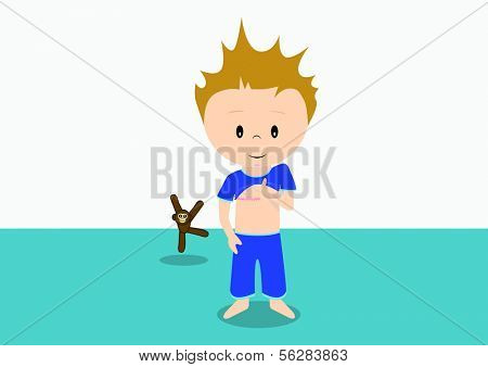 Illustration of child showing his scar on his chest. All vector objects and details are isolated and grouped. This illustration is a part of a story about a child in hospital.