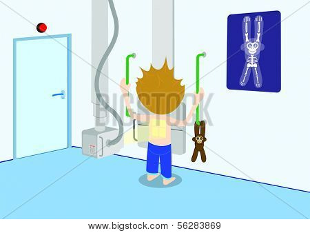 Illustration of child getting a X-ray. All vector objects and details are isolated and grouped. This illustration is a part of a story about a child in hospital.