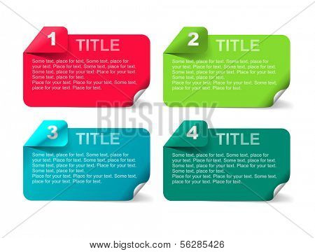 Set of tabs: 1, 2, 3, 4. Four banners for your tittles