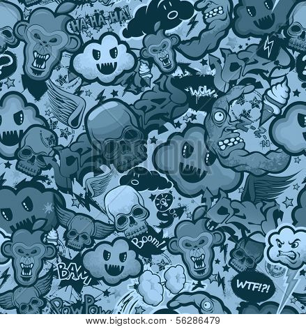 Monochrome graffiti cartoon bizarre funky characters seamless freak texture. Pattern, wallpaper from doodles. poster