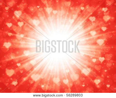 Happy Valentines day card and abstract hearts light vector background