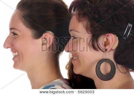 Beautiful Young Woman With Hearing Aid