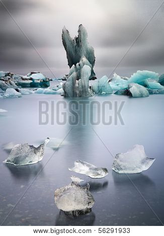 Iceberg landscape Iceland at Joulsarlon glacier lagoon drifting pack ice due to melting caused by global warming beautiful artic travel and tourism location cold wilderness