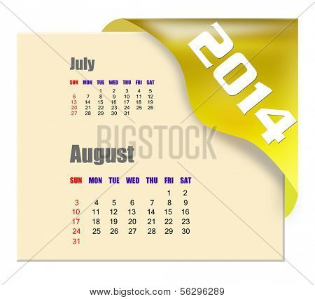 August of 2014 calendar isolated on white background poster