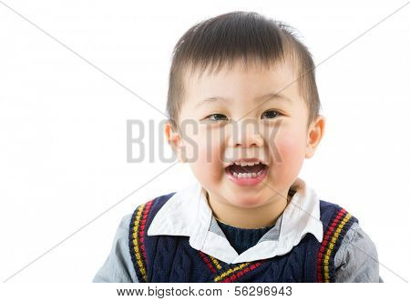 Little boy smile isolated on white