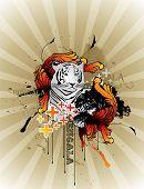 tiger vector composition illustration over a color background poster