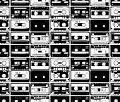 seamles from old retro audio tapes poster