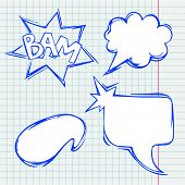 Set of vector chat bubbles in hand drawing style poster