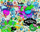 Graffiti seamless texture with bizarre elements and freak characters poster
