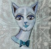 Beautiful, impudent muzzle of a cat with a bow. Square illustration. poster