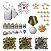 Military icons and design elements poster