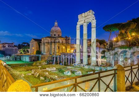 Night view of Forum of Caesar in Rome, Italy