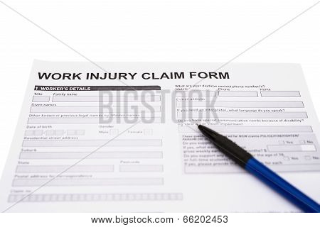 Work Injury Claim Form On White With Clipping Path
