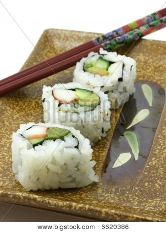 Japanese sushi, close up view