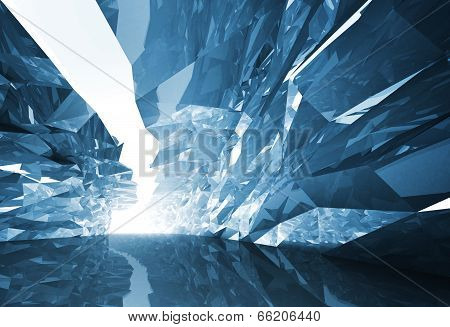 Abstract 3D Background. Bent Crystal Corridor With Rugged Walls And Glowing End