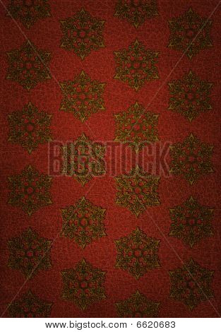 Gold Snowflake Pattern On Red Leather