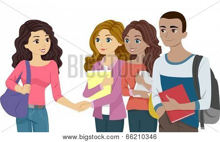 Illustration Featuring Freshmen Acquainting Themselves with One Another