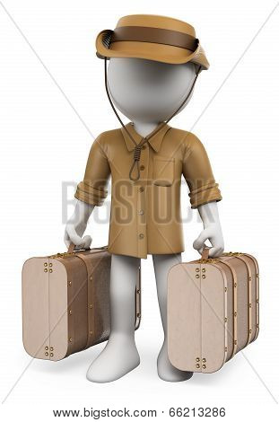 3D White People. Vintage Traveler With Two Suitcases