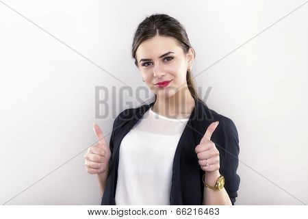 Attractive Brunet Business Woman With Thumb Up Isolated On White Background
