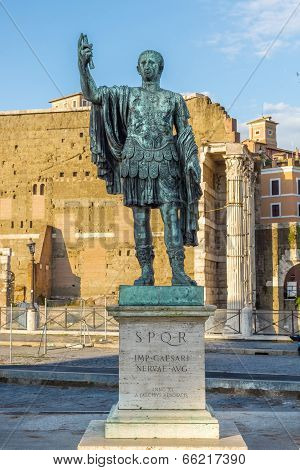 Rome. Bronze Sculpture Of The Emperor Nerva