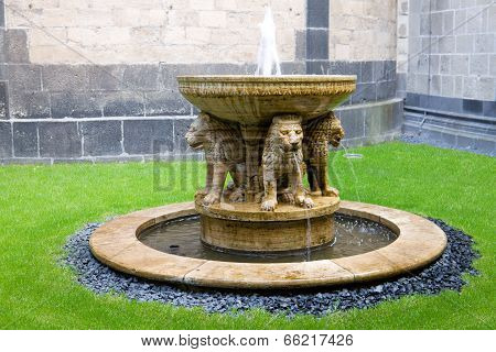 The Maria Laach abbey is a Benedictine abbey situated in the Eifel region of the Rhineland-Palatinate in Germany. It was founded in 1093. The Lion Fountain in the courtyard was added poster