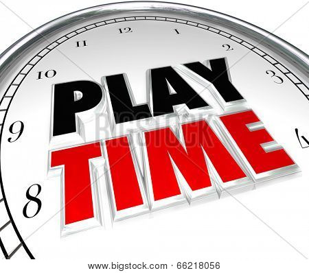 Play Time words on a clock to illustrate fun activity period or recess