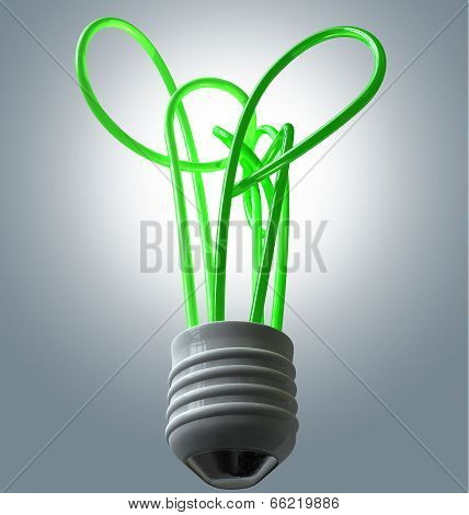 Light Bulb Green Energy Flourescent