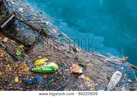 Water Pollution Old Garbage And Oil Patches On River Surface
