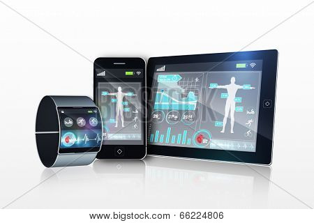 Futuristic wrist watch with tablet and smartphone on white background poster