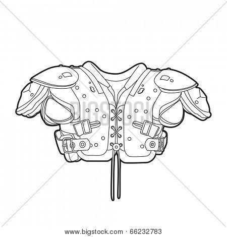 Outline football shoulder pads on white