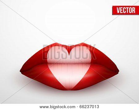 Beautiful luscious lips. Casino symbol. Vector Illustration.