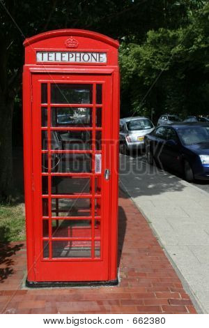 Traditional Red Telephone Box In England