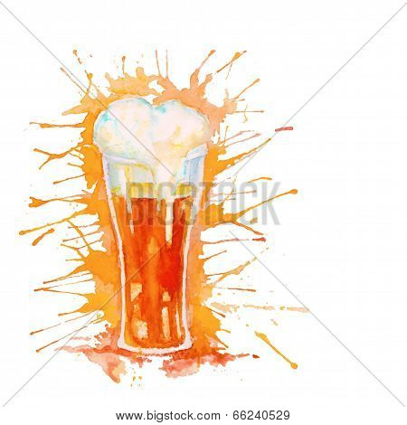 Watercolor glass of beer isolated on white
