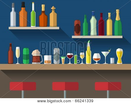 Bar counter with stools and alcohol drink on shelves flat vector illustration poster