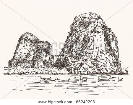Thailand beach landscape, Limestone rocks, Long tail boats, Hand drawn Vector illustration