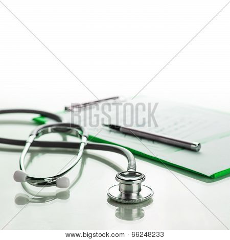 Stethoscope With Medical Clipboard
