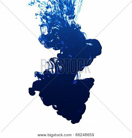 Ink In Water On White Background