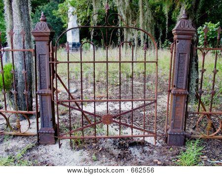 Rustic Gate In Cemetery