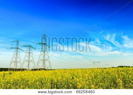 High voltage powerline on field background
