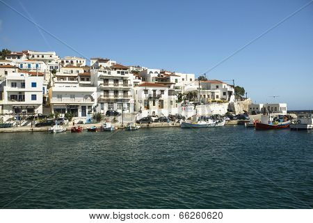 ANDROS, GREECE - APR 29, 2014: Marina of Andros, is the northernmost island of the Greek Cyclades archipelago in the Aegean Sea - area is 380 km2, 40 km long, and its greatest breadth is 16 km.
