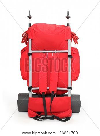 Travel bag with mountaineering equipment.