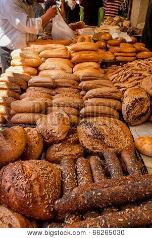 Breads At Mechane Yehuda Market, Jerusalem, Israel