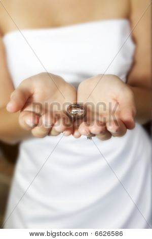 Two wedding bands in palms