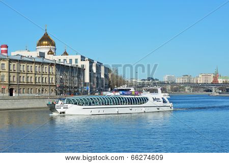 MOSCOW, RUSSIA - MARCH 9, 2014: People on the yacht of Flotilla Radisson Royal during the river tour. Working all year round, the Flotilla carry half million passengers per year