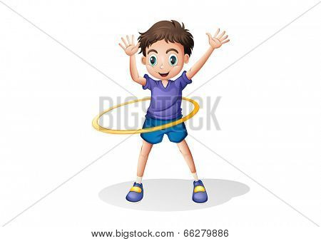 Illustration of a young man playing with the hulahoop on a white background