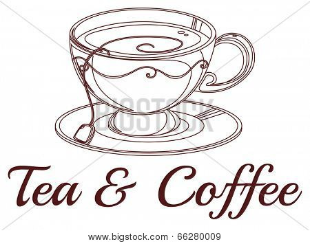 Illustration of a tea and coffee label on a white background